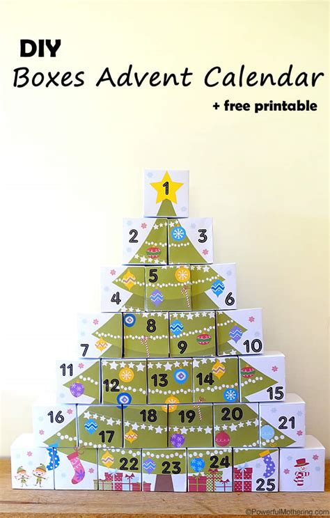 make my own calendar with pictures free diy boxes advent calendar with free printable