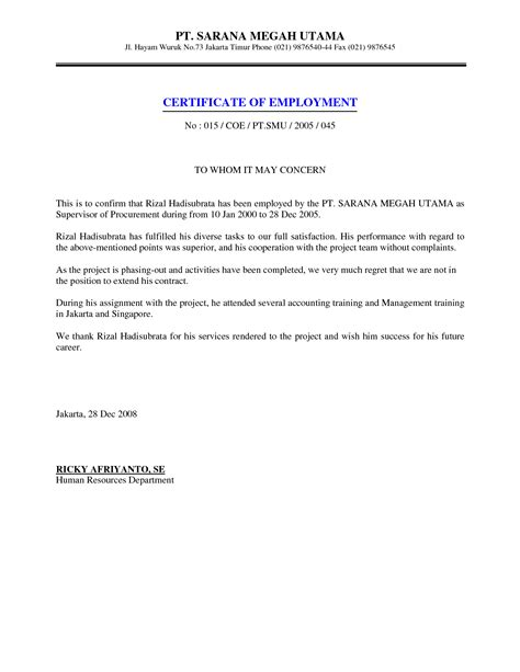 authorization letter for certification of employment exle of a certificate employment release likeness