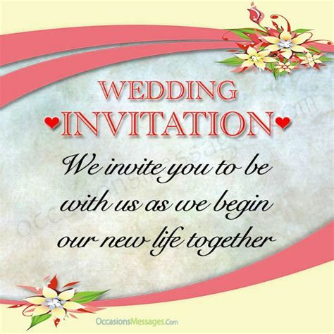 Best Wedding Invitation Messages   Occasions Messages