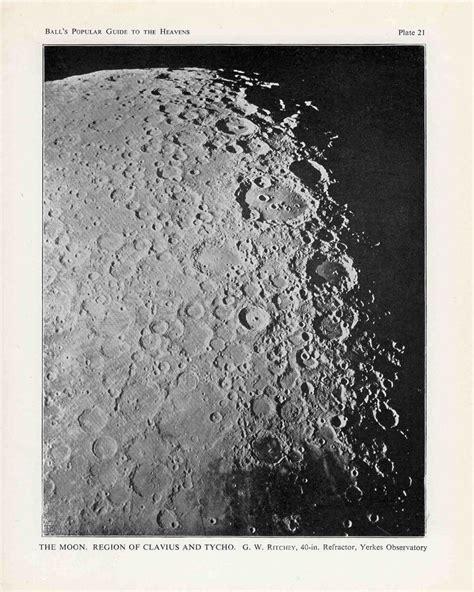 1910 Nta Set Foil 1910 set of 3 moon landscape lithogrpahs craters original antique astronomy prints of the moon