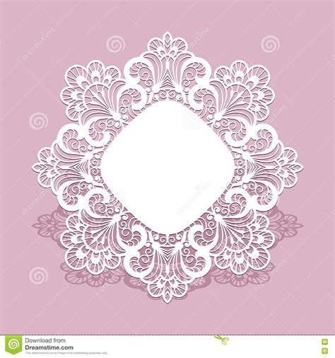 lace templates card lace frame greeting card template stock vector