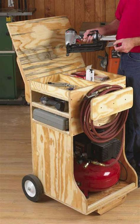 sawhorse plans compressor cart and playhouse woodworking for mere mortals garage shop