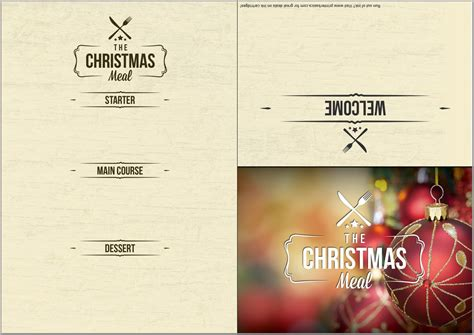 christmas day menu template 5 best and various