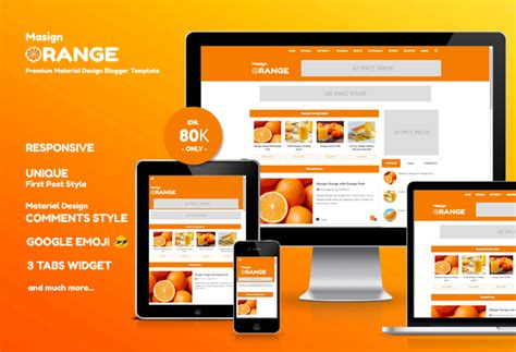 templates blogger material design masign orange premium material design blogger template