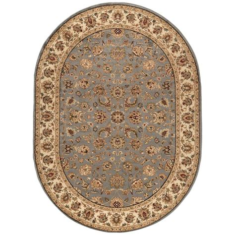 oval rugs tayse rugs elegance blue 6 ft 7 in x 9 ft 6 in oval indoor area rug 5377 blue 7x10 oval