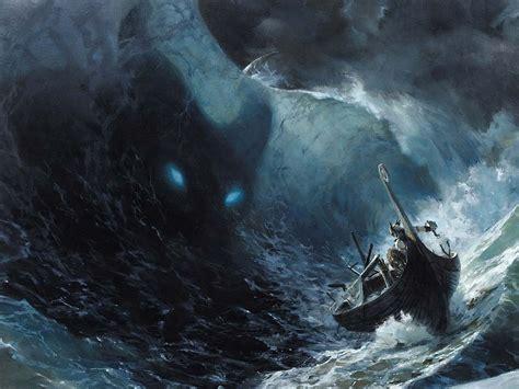 boat waves drawing paintings ocean monsters waves thor storm legend fantasy
