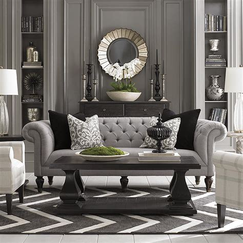 Grey Sofa Living Room Decor Chesterfield Sofa Living Room Furniture Bassett Furniture