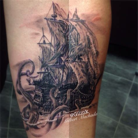 leviathan tattoo flying dutchman black and gray black and grey gray wash