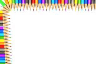 white background made of colorful pencils border stock