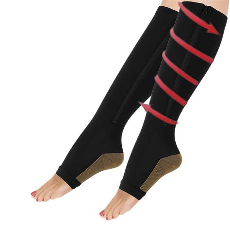 Sox L by Unisex Compression Zip Socks Zipper Leg Support Open Toe