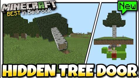 minecraft hidden tree door redstone tutorial mcpe