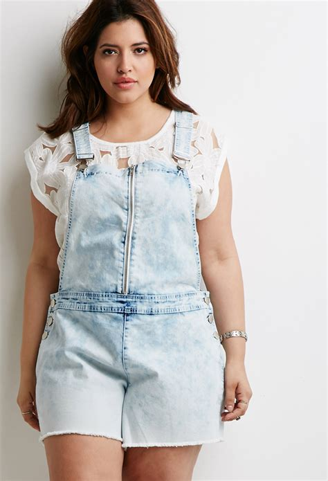 Indah Denim Overall Lyst Forever 21 Plus Size Cloud Wash Overall Shorts In Blue
