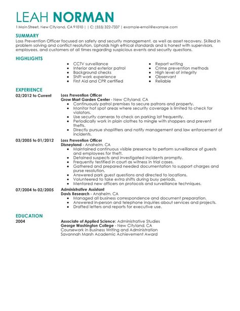 Loss Prevention Associate Sle Resume by Loss Prevention Officer Resume Exles Enforcement Security Resume Sles Livecareer