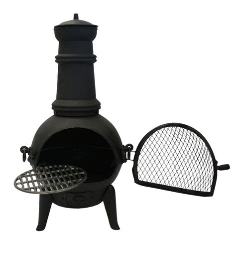 Small Cast Iron Chiminea Santa Lucia Cast Iron Small Chiminea Black H85cm X W47cm