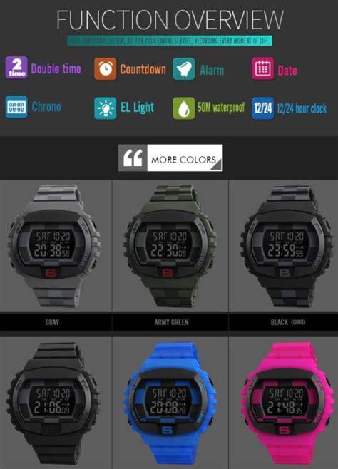 Jam Tangan Digital Skmei Dg1243 skmei jam tangan digital sporty pria 1304 black