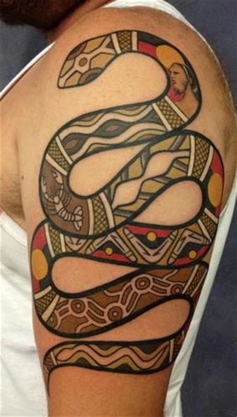 mechanical red kangaroo aboriginal xray style tattoo