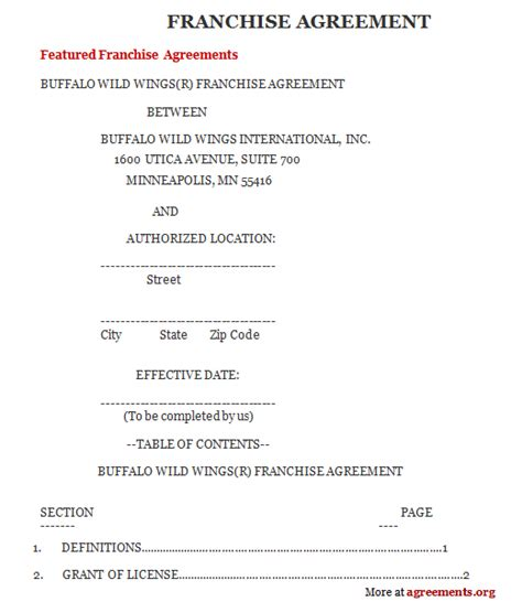 franchise agreement template sle franchise agreement