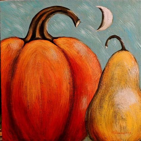 pumpkin paintings primitive folk acrylic pumpkin pear moon painting
