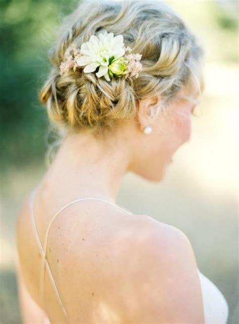 Hochzeitsfrisur Mit Blumen by Einfache Hochzeit Frisuren Hochzeits Braid