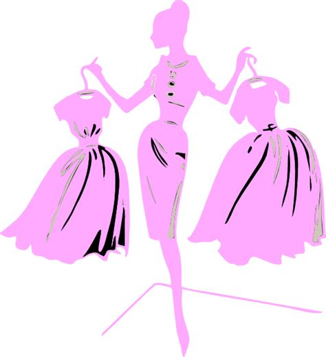 fashion clipart fashion model pink dress clip at clker vector