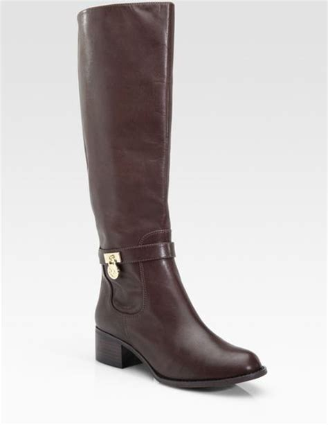 michael kors brown boots michael michael kors hamilton leather boots in