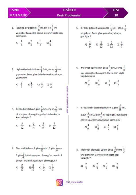 sinif kesir problemleri test matematik