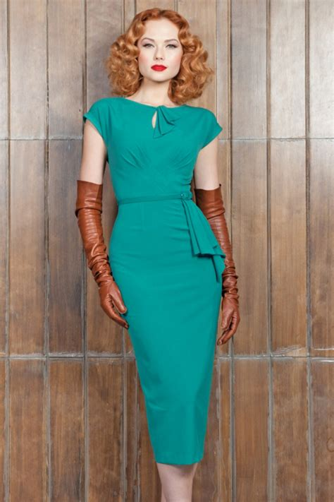 Timeless Fashion At Sielian Vintage Apparel by 40s Timeless Pencil Dress In Turquoise
