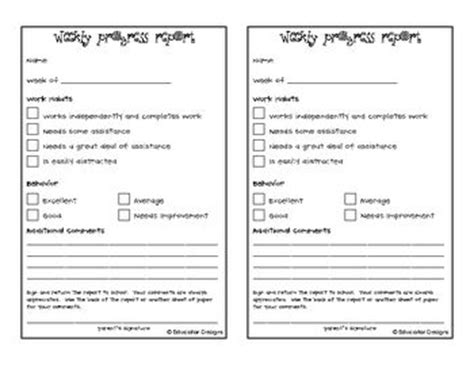 weekly progress report template for teachers comments comment and teaching on