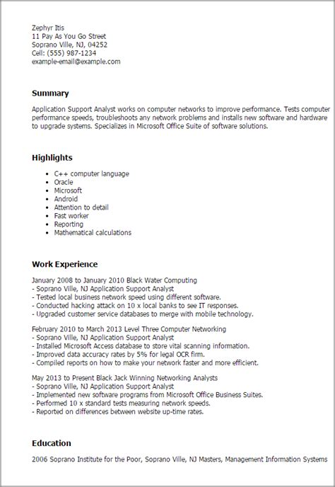 Resume Application Objective professional application support analyst templates to