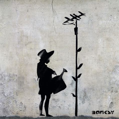 Banksy Wall Mural banksy girl watering aerial flower stencil life size