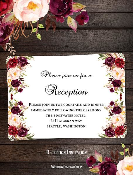 Printable Wedding Templates Romantic Blossoms Diy Stationery Wedding Template Shop Maroon Wedding Invitation Templates