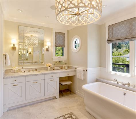 quatrefoil chandelier transitional bathroom benjamin