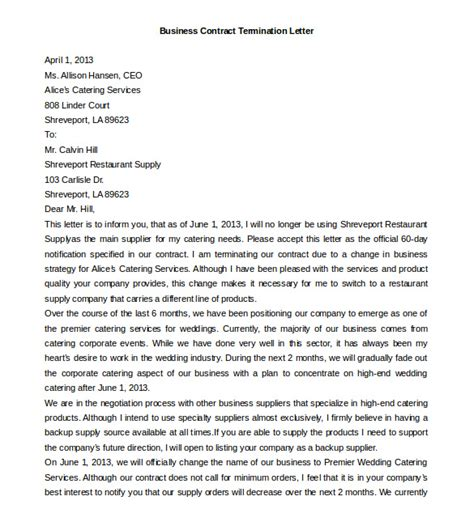 business contract termination letter template 11 termination letter templates free sle exle