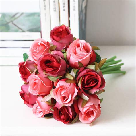 Bouquet Bunga Plastik Artificial Palsu aliexpress buy 12pcs silk bridal wedding