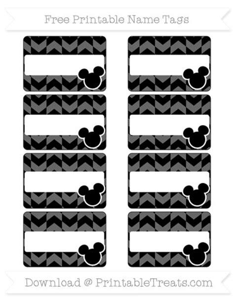 printable mickey mouse name tags free black herringbone pattern mickey mouse name tags