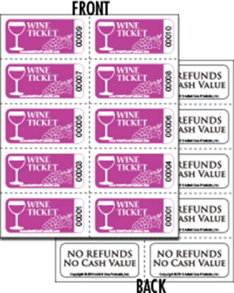 coat check tickets template wine ticket sheets of 10 with back print from admit one