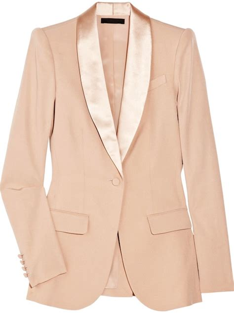blush colored blazer in the row kevington silk blazer and