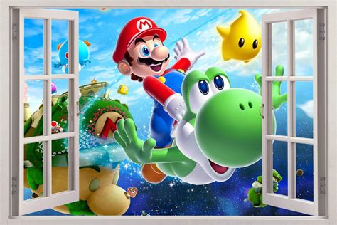 super mario home decor super mario bros 3d window view decal wall sticker home