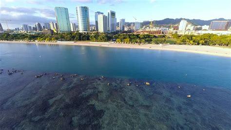ala moana boat marina aerial video over ala moana beach park shopping center