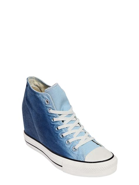 converse wedges sneakers converse 80mm mid denim wedge sneakers in blue lyst