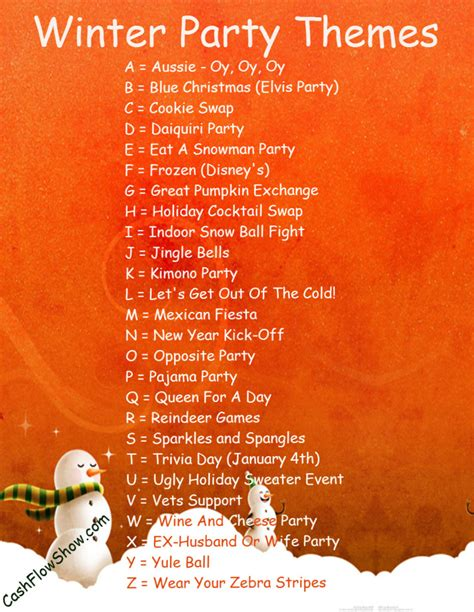 read a z list to find a winter theme for your event