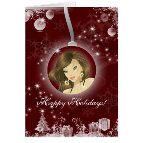 christmas greeting hair stylists hair salon greeting card burgundy zazzle
