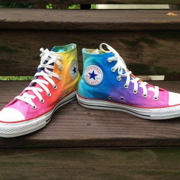 How To Bar Lace Converse High Tops by Custom Painted Rainbow High Top From Intellexual Design