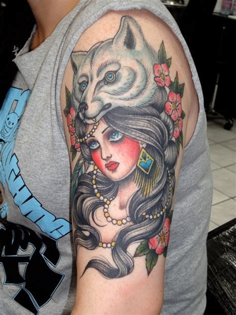 tattoo girl wolf gypsy tattoo tat me up pinterest wolves ink and