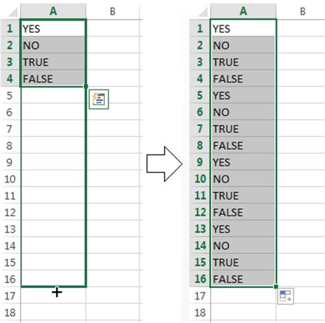 how to fill column with series repeating pattern numbers how to use autofill in excel 2016 2010 all fill handle
