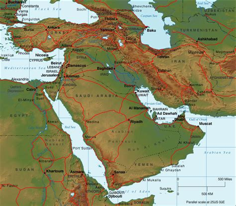 map of the middle east physical middle east relief map