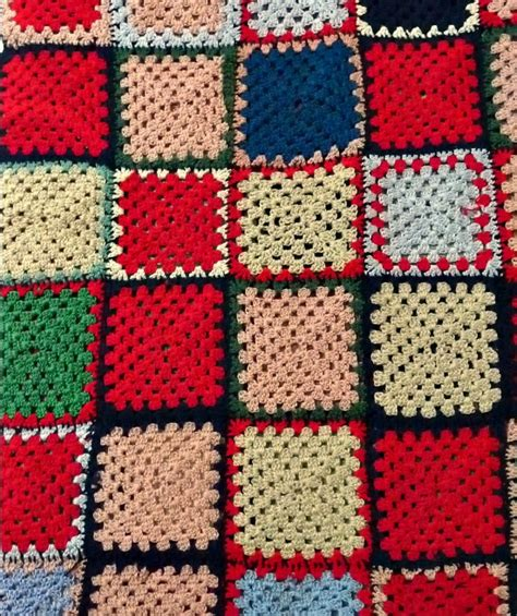 Crochet Patchwork - vintage 60s patchwork crochet blanket the stellar boutique