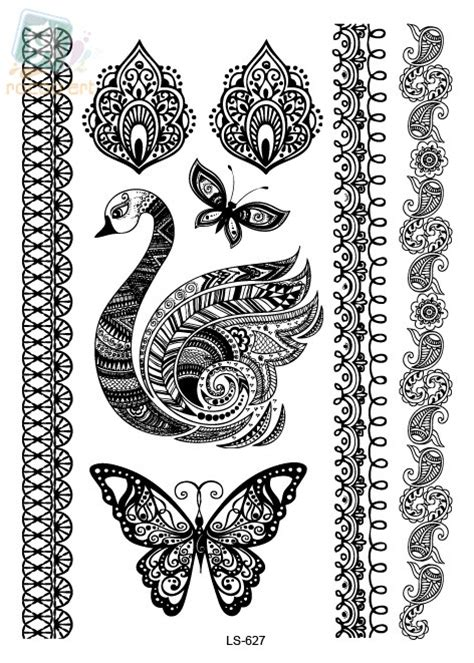 ls627 latest indian design black butterfly swan henna ink