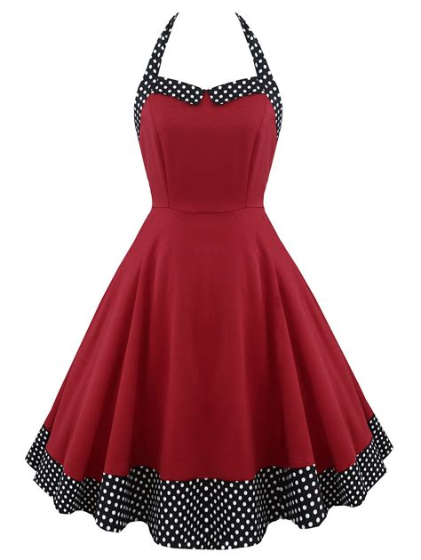 wholesale warehouse halter lace up polka dot vintage dress