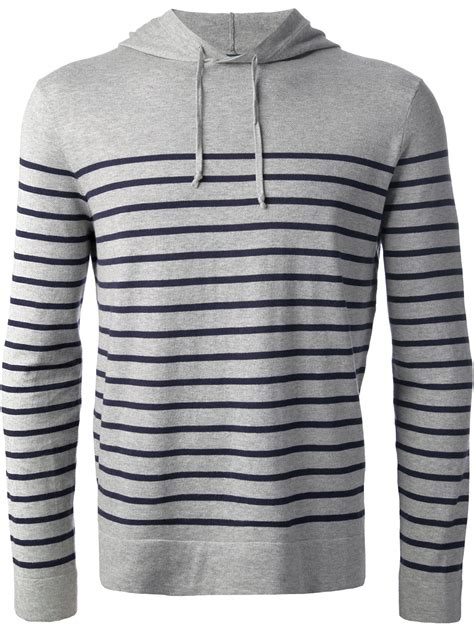 Striped Hoodie lyst polo ralph striped hoodie in gray for